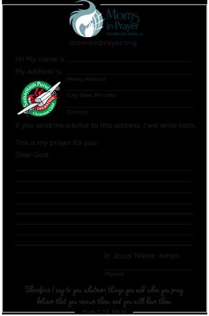 Shoebox Prayer Card Operation Christmas Child Moms in Prayer