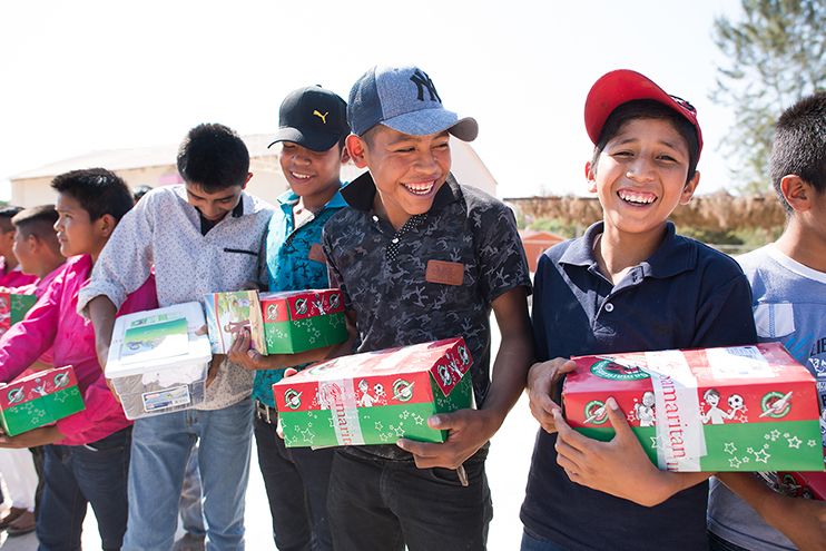 Pack a Shoebox and write a prayer for the child OCC
