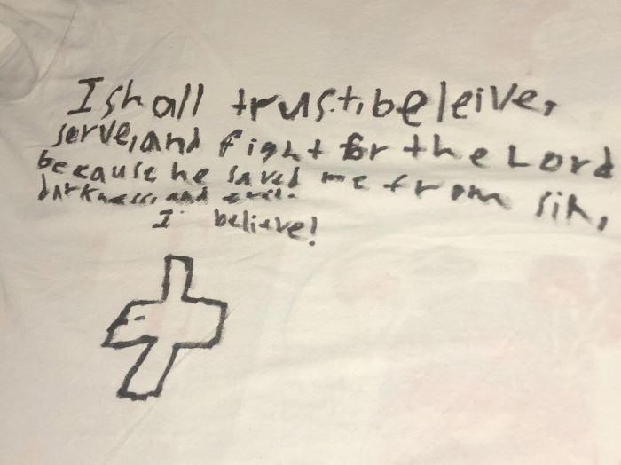 Grandson writes a declaration to God on his t-shirt